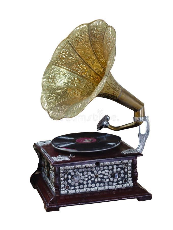 Phonographe, tourne-disque antique avec un tuyau jaune photographie stock libre de droits