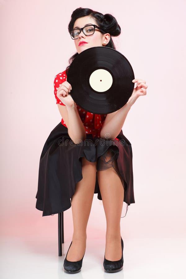 Phonography-Entsprechungsaufzeichnung Mädchenstift-oben Retro- stockbilder