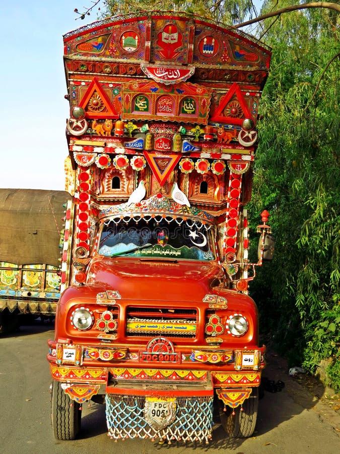 Phool Patti, arte del camion nel Pakistan fotografia stock libera da diritti