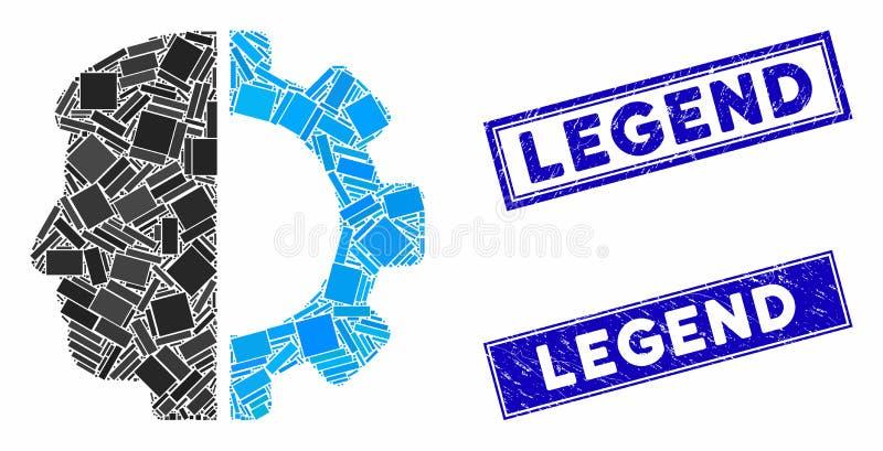 Phoques de légende de la mosaïque de la tête d'Android et du rectangle de Grunge illustration stock
