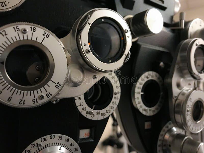 Phoropter for eye exams stock photos