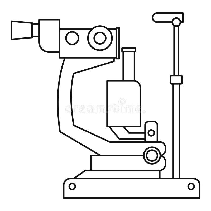 Phoropter, icono oftálmico de la máquina del dispositivo de la prueba stock de ilustración