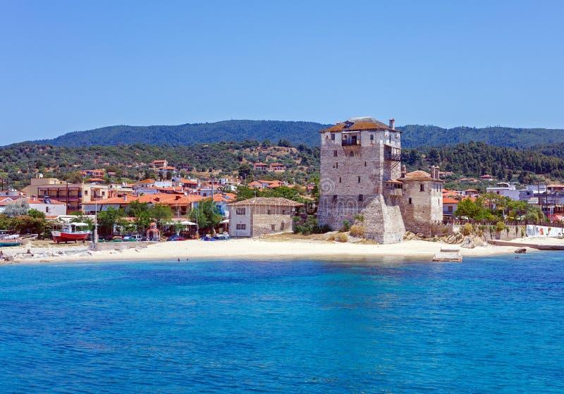 Phospfori tower in Ouranopolis, Mount Athos stock image