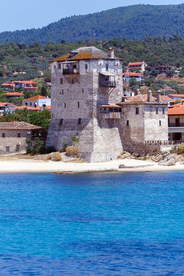 Phospfori tower in Ouranopolis, Mount Athos stock photo