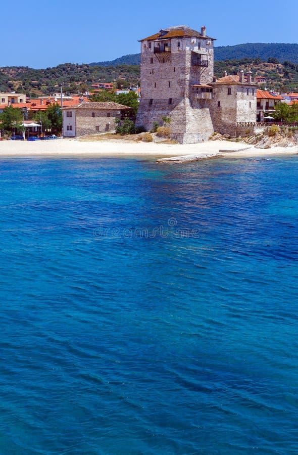 Phospfori tower in Ouranopolis, Mount Athos royalty free stock photography