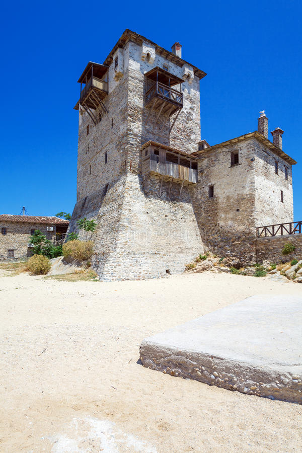 Phospfori tower in Ouranopolis, Mount Athos stock images