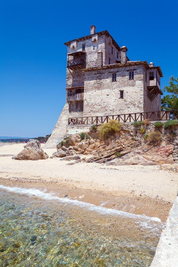 Phospfori tower in Ouranopolis, Mount Athos royalty free stock photo