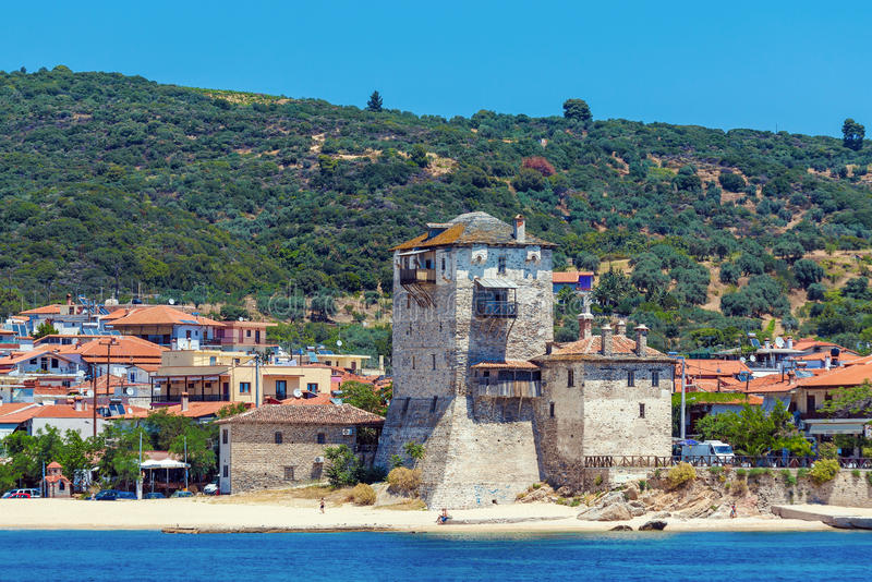 Phospfori tower in Ouranopolis, Mount Athos royalty free stock photos