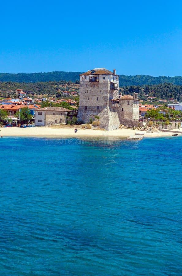 Phospfori tower in Ouranopolis, Mount Athos royalty free stock image