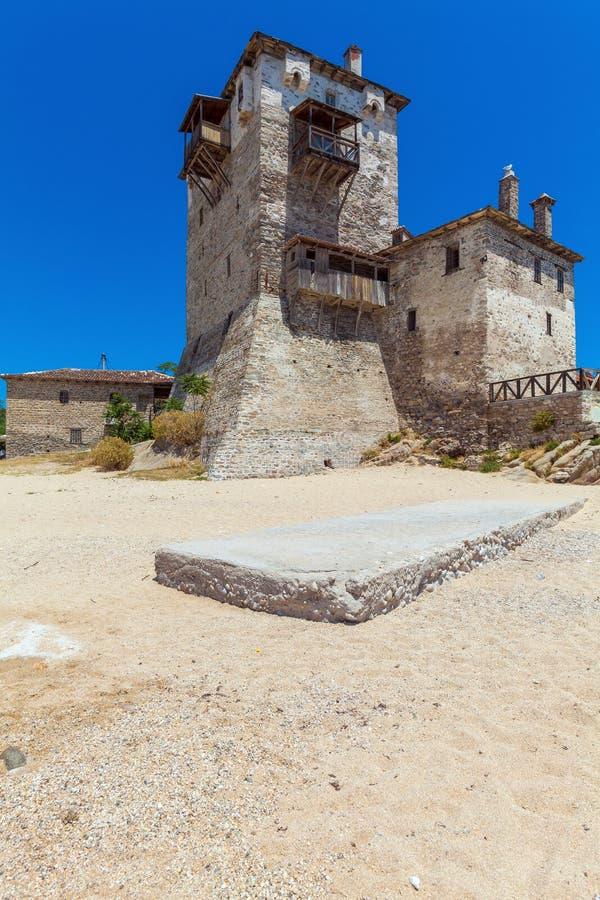 Phospfori tower in Ouranopolis, Mount Athos stock photography