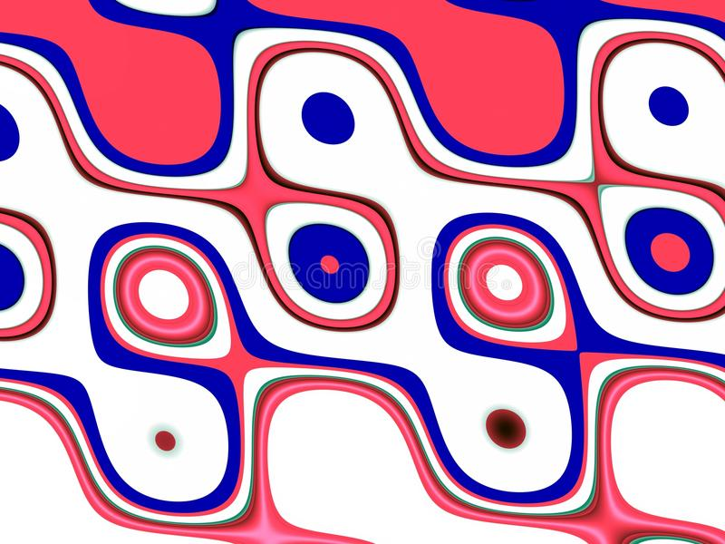 Playful orange blue waves background. Waves like shapes, abstract background. Phosphorescent blue geometric playful waves lines shapes, forms, vivid colors royalty free illustration