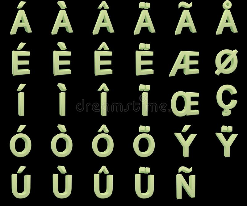 Phosphorescent capital letters with diacritics royalty free stock photo