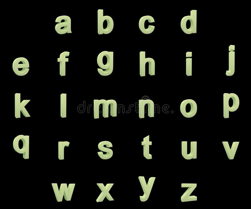 Phosphorescent small letters alphabet royalty free stock photos