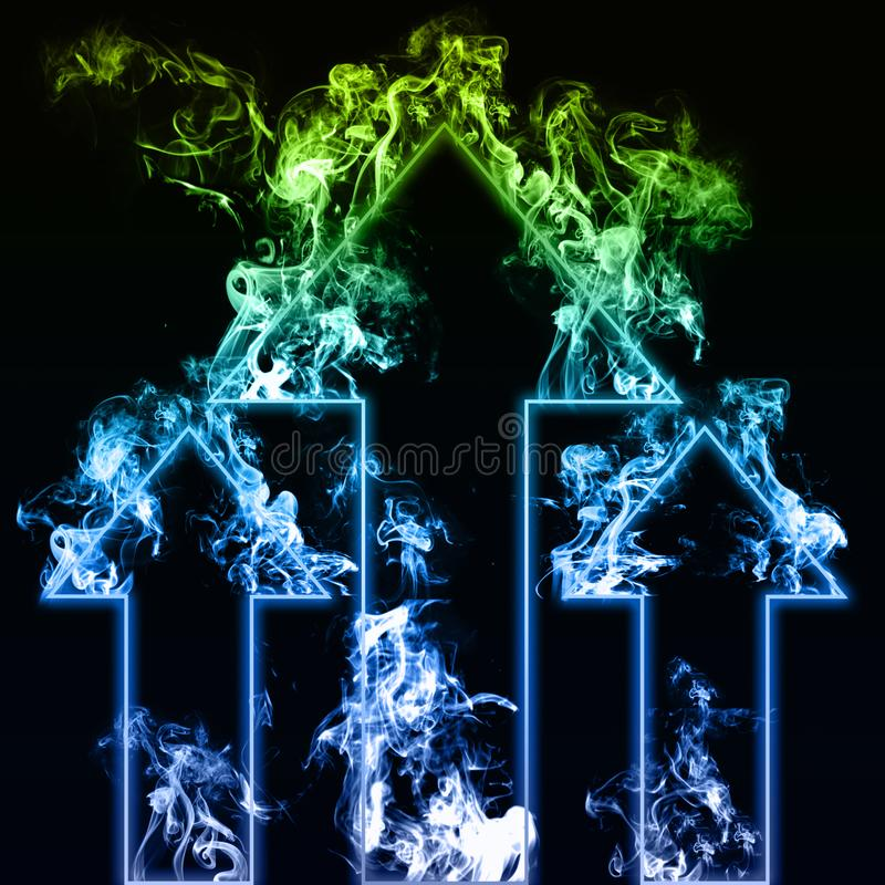 Three blue and green arrows with smoke in black background vector illustration