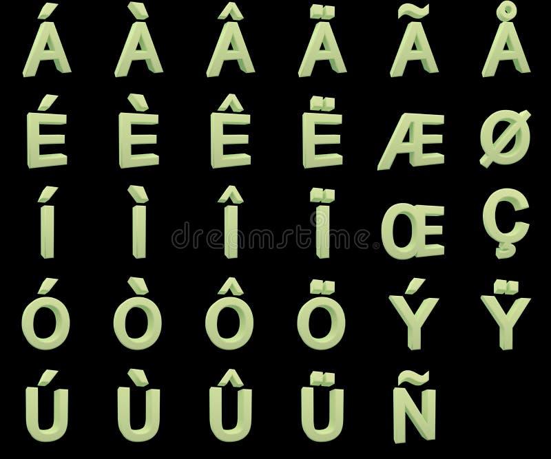 Phosphoreszierende Großbuchstaben mit diakritischen lizenzfreies stockfoto
