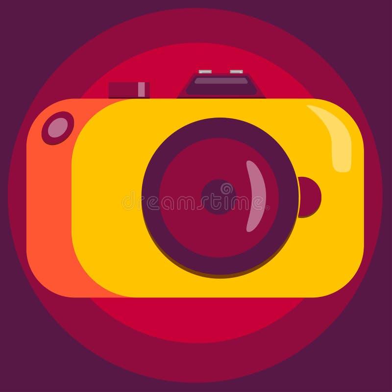 Stylish camera in yellow-orange colors. Vector illustration. royalty free illustration