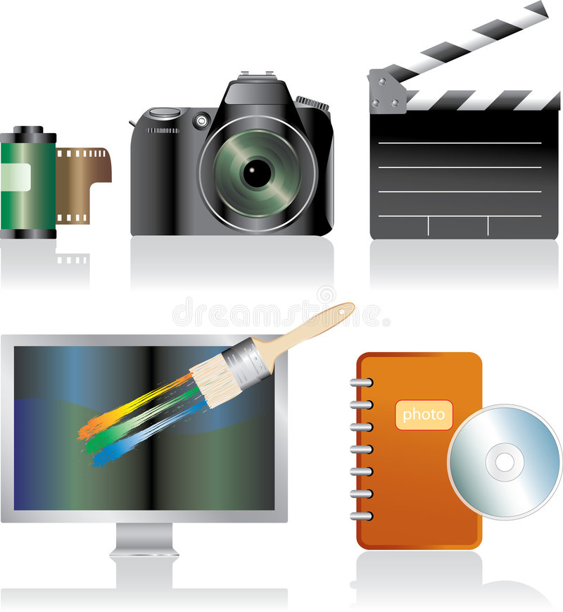 Download Photo stock vector. Illustration of logo, clapper, monitor - 6260276