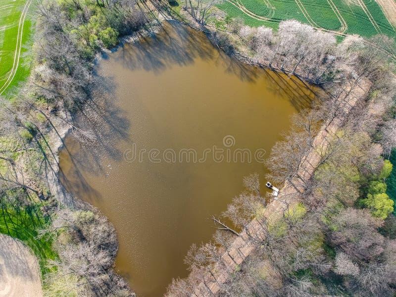 Photo aérienne d'étang avec les arbres de floraison avec le pilier et la voie photos libres de droits