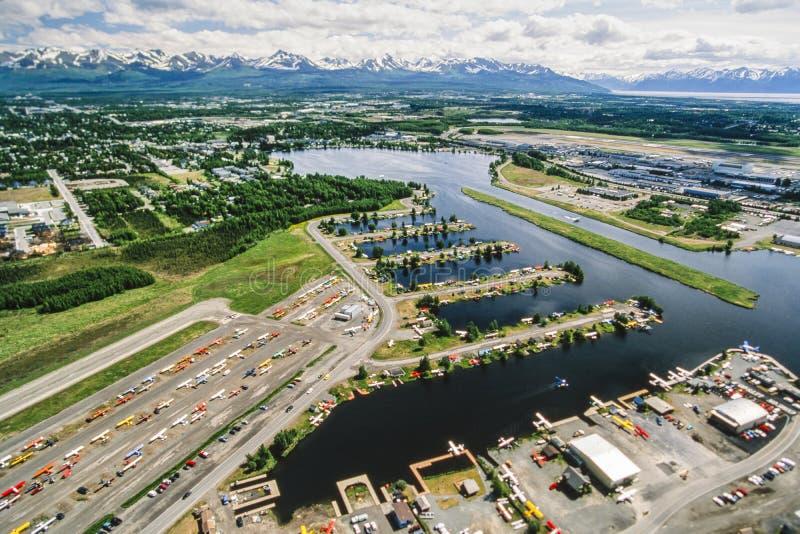 Photo aérienne d'Anchorage Alaska images libres de droits