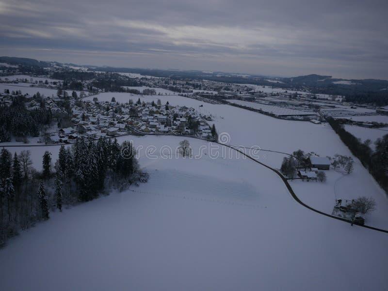 Photo aérienne de paysage d'hiver image libre de droits