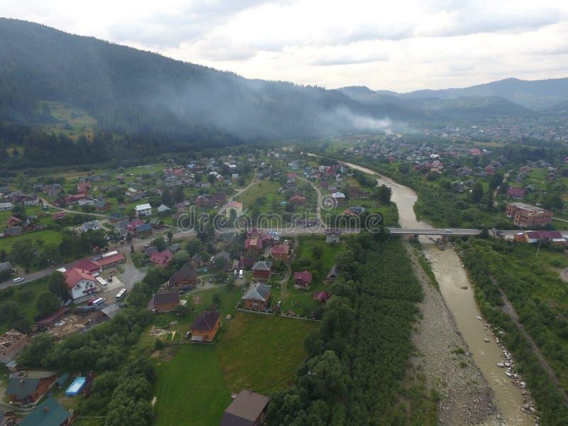 Photo aérienne de rivière Prut photographie stock