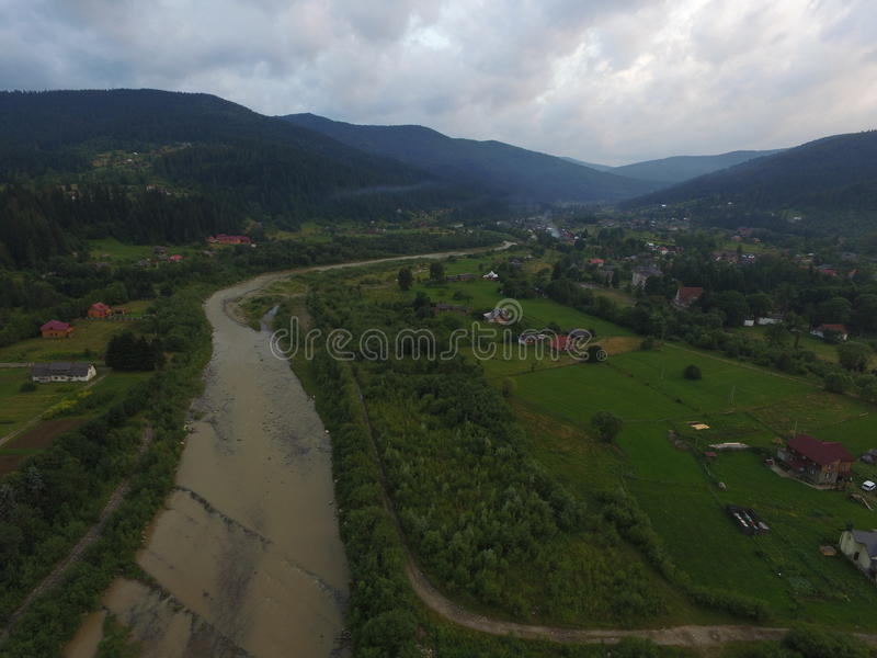 Photo aérienne de rivière Prut photo libre de droits