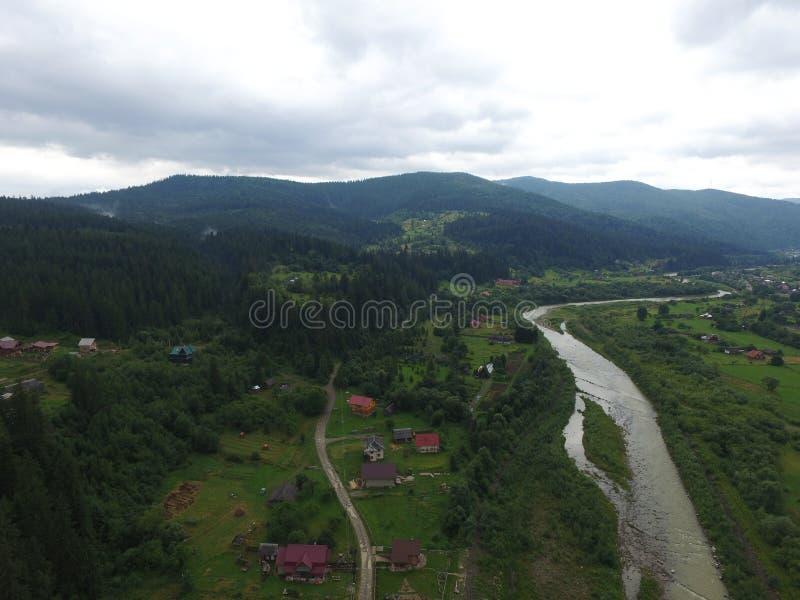 Photo aérienne de rivière Prut image libre de droits