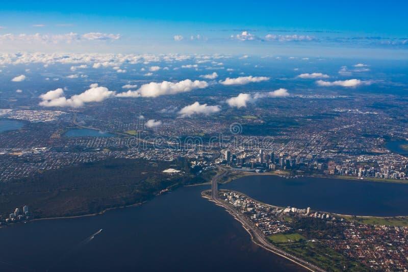 Photo aérienne de ville de Perth photos libres de droits