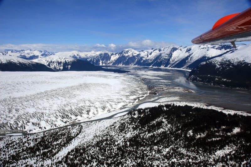 PHOTO A?RIENNE DU GLACIER DE TAKU EN ALASKA photo stock