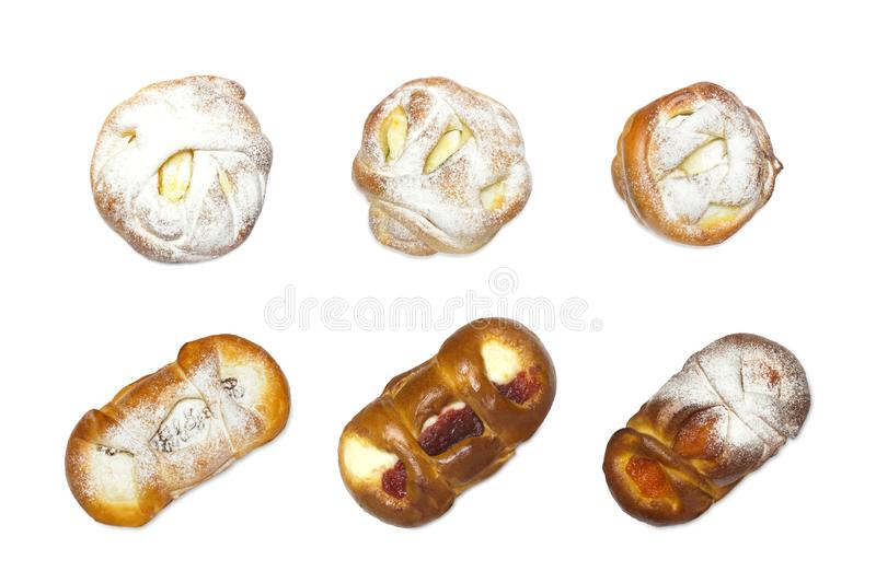 Photo from above of sweet sugar fresh pastry. Set of handmade various bun rollsm with apricot ans cherry jam, cottage cheese and stock photos