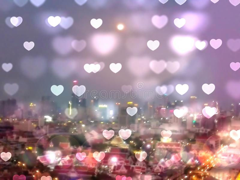 Abstract of night city of Bangkok Thailand bokeh background and wallpaper, blurred glitter vintage lights stock image