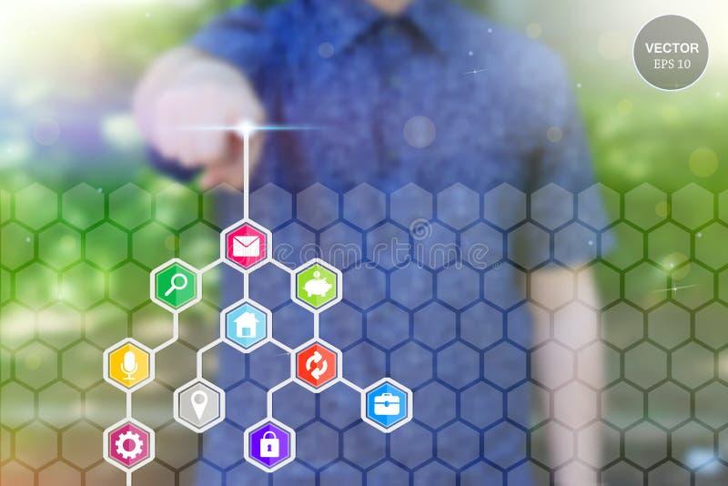 Photo abstraite de concept de bouton social de réseau de future technologie émouvante de l'homme Écran tactile de Digital d'icône illustration de vecteur