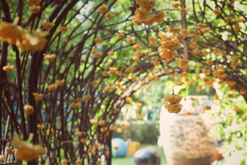 Photo abstraite de vintage des fleurs de souci de fleur décorées sur la voûte image stock