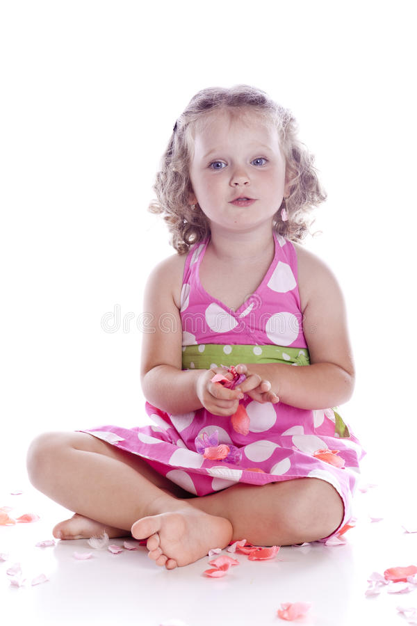 Photo Of Adorable Young Girl On White Background Royalty Free Stock Photos