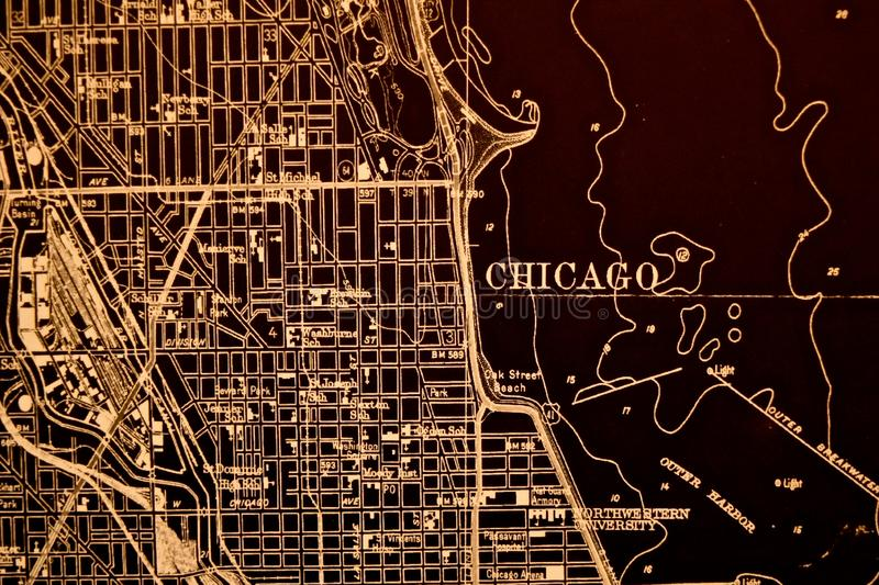 Chicago Downtown Map stock images