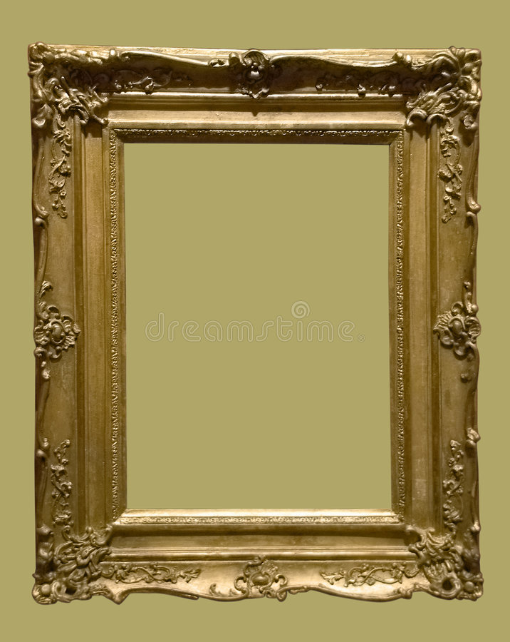 Photo of aged golden picture frame stock image