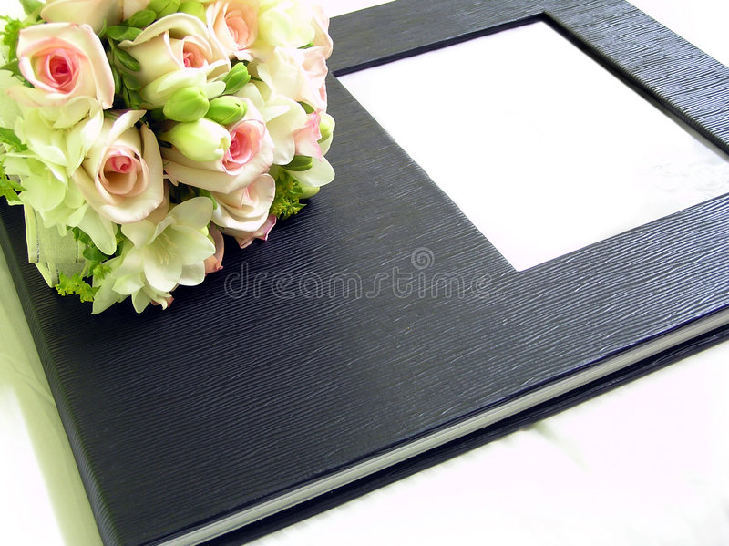 Photo album. Roses and photo album. Front cover with a frame for adding content