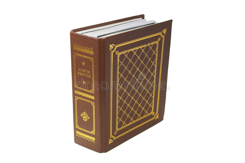 Photo album. The brown photo album with gold lettering on white background. Close-up stock photo
