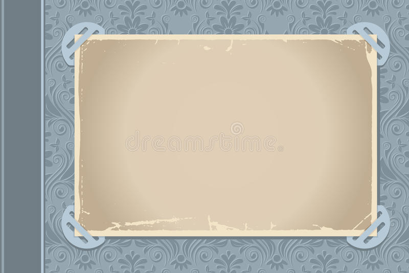 Photo album page. Page from a retro-styled photo album with blank photo frame royalty free illustration