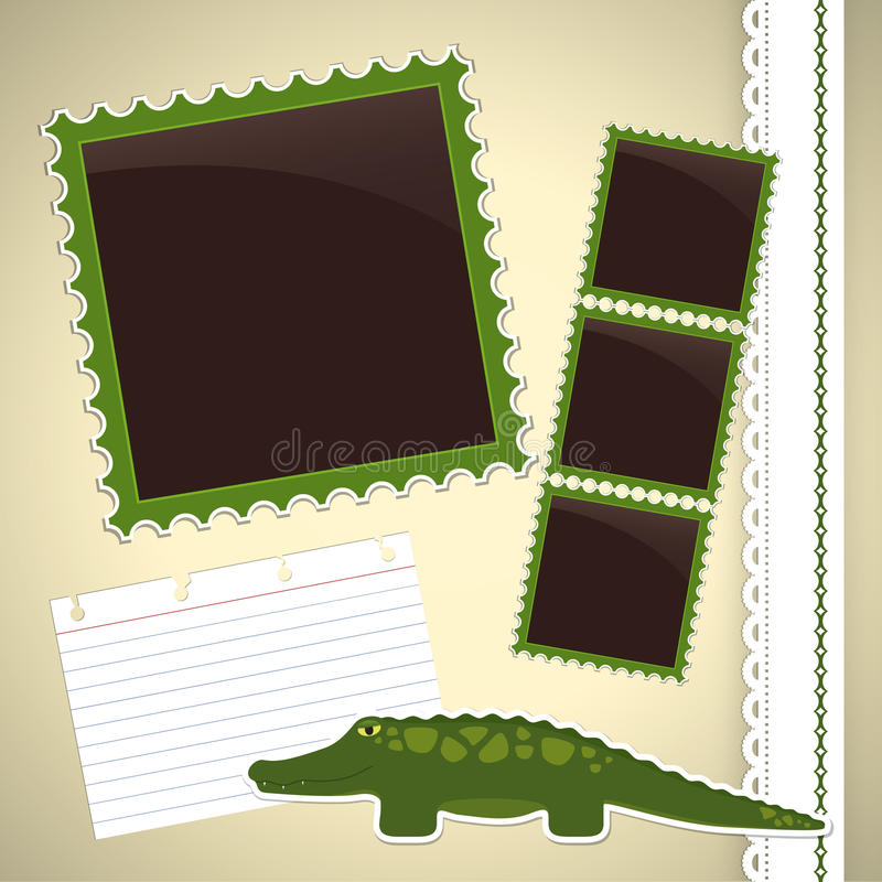 Download Photo Album Page With Crocodile Stock Vector - Illustration: 31082972
