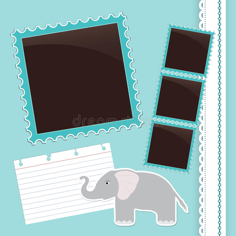 Download Photo Album Page With Gelephant Stock Vector - Illustration of contour, caricature: 31082966