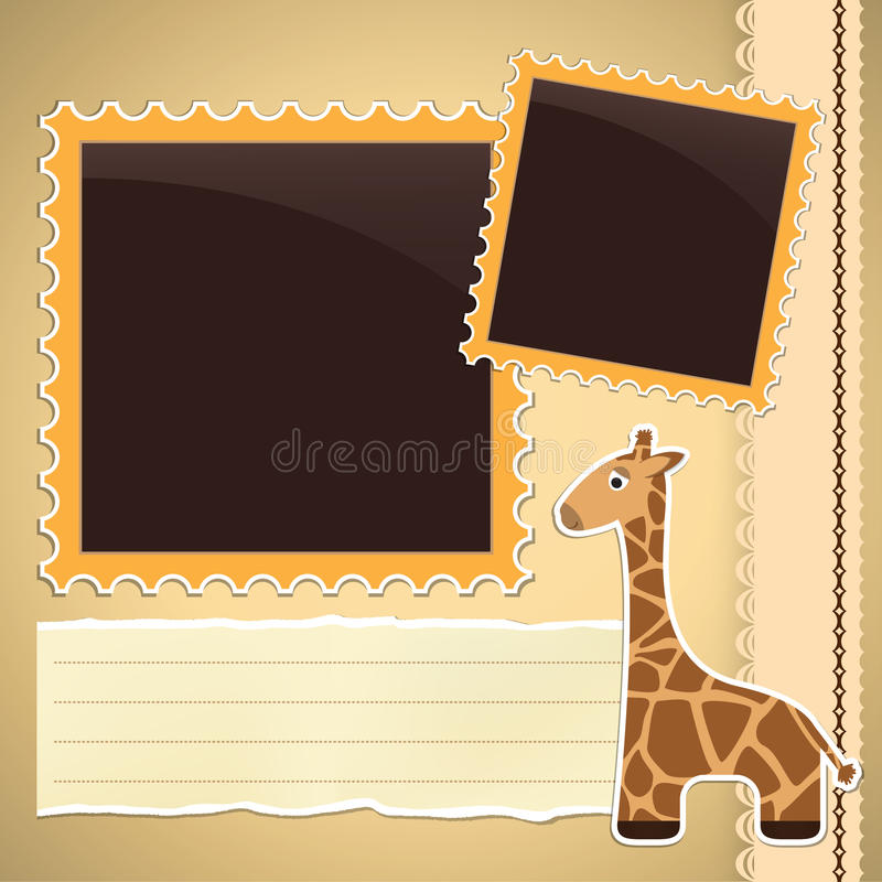 Photo album page with giraffe royalty free illustration