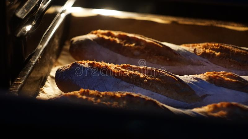 French baguette in the oven royalty free stock photography