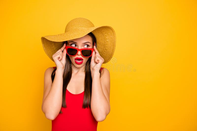 Photo of amazing lady nice look came seaside trip voyage listen hotel neighbors fight sly person wear specs sun hat red stock photo