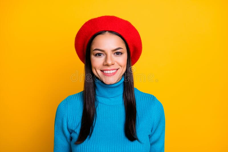 Photo of amazing latin traveler girl lady toothy beaming smiling stylish look wear modern red beret hat blue turtleneck. Photo of amazing latin traveler girl stock images