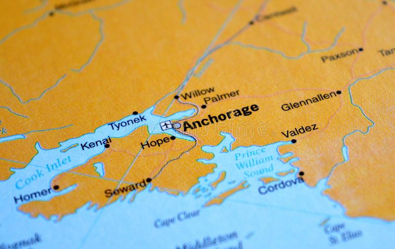 A photo of Anchorage on a map.  royalty free stock photos
