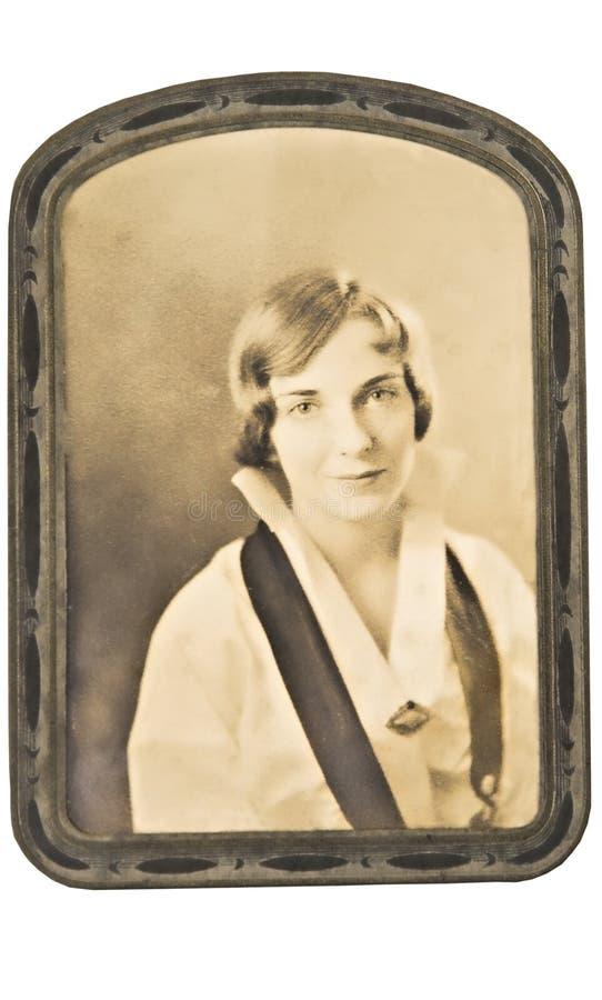 Photo antique de femme encadrée photos stock
