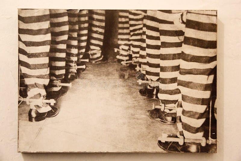 Photo antique des prisonniers à maritime, à la prison et au musée antarctique dans Ushuaia, Argentine image stock