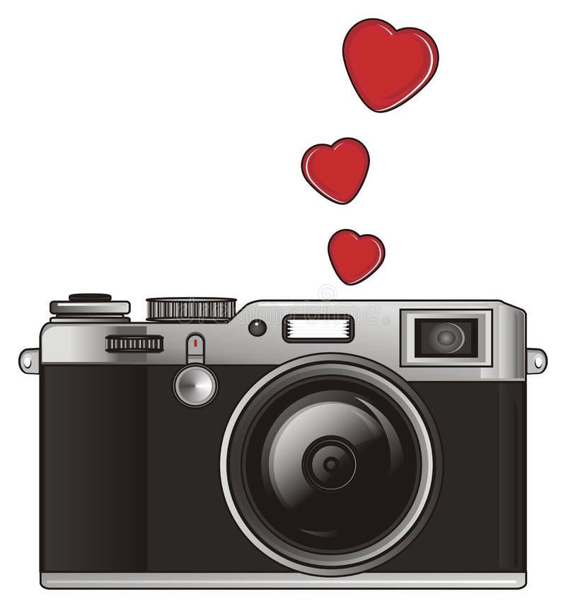 Photo apparatus and hearts vector illustration