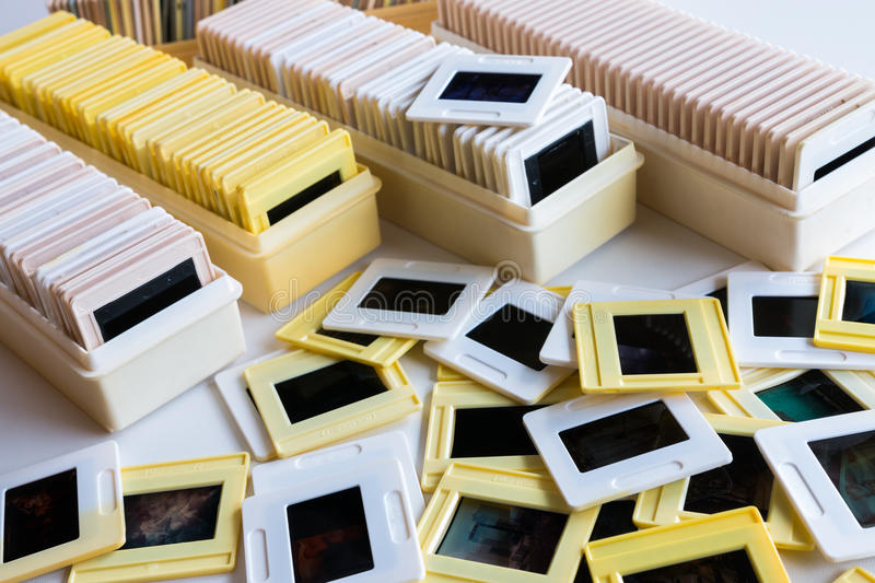 Photo archive of 35mm film slides royalty free stock images